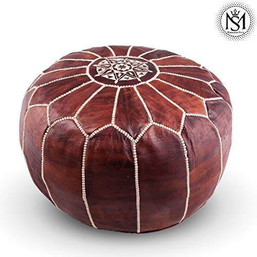 Marrakesh Style, Moroccan Leather Pouf, Natural -Leather Pouf- Hassock & Ottoman Footstool - Round & Large Ottoman Pouf, 100% Handmade Leather Pouf Home Gifts, Unstuffed (Moroccan Style Ottoman)