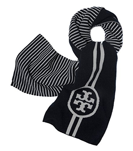 Tory Burch Women's Reversible Striped Black Scarf