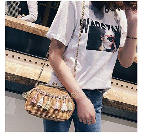 Femmes Shell Chaîne Sac À Qualité GWQGZ 2018 Mode Tissée Sacs Main De Ethnique D'Été À Des Sac Bandoulière Fringed Haute Main Clip À Style Sac BqZB0wS