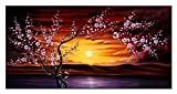 Wieco Art – Plum Tree Blossom Flowers Modern Canvas Prints Floral Landscape Pictures Paintings Artwork on Canvas Wall Art for Home Decorations and Wall Decor Picture