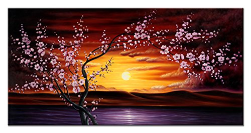 Wieco Art Plum Tree Blossom Flower Canvas Print for Paintings Artwork Modern Canvas Art for Wall and Home D¨¦cor