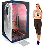SereneLife Full Size Portable Sauna - Infrared Heating Personal Home Spa - with Heating Foot Pad and Portable Chair