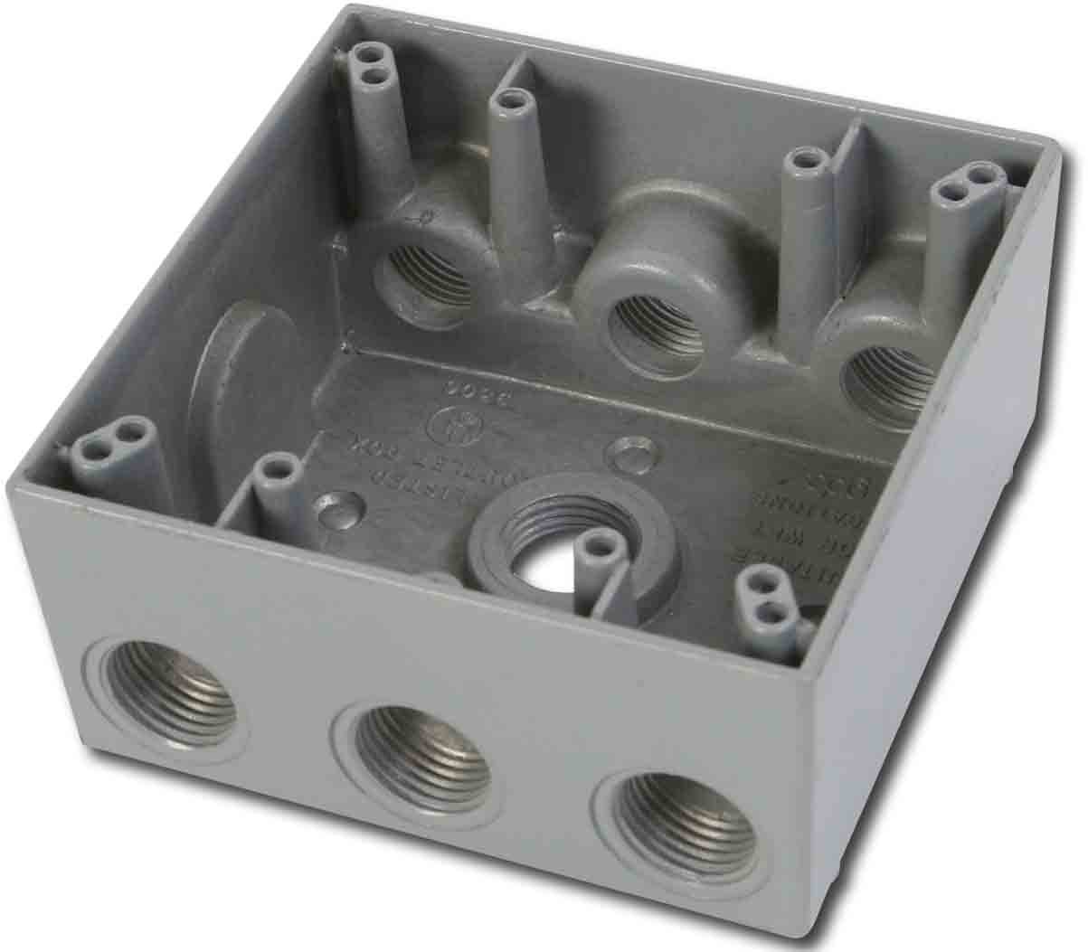 Made in USA Weatherproof Electrical Outlet Box (7) 1/2'' Holes - Gray