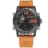 NAVIFORCE Leather Band Analog Digital LED Dual Time Display Mens Watch Orange