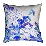 ArtVerse Katsushika Hokusai Watercolor Peonies and Butterfly Floor Pillows Double Sided Print with Concealed Zipper & Insert, 36'' x 36''