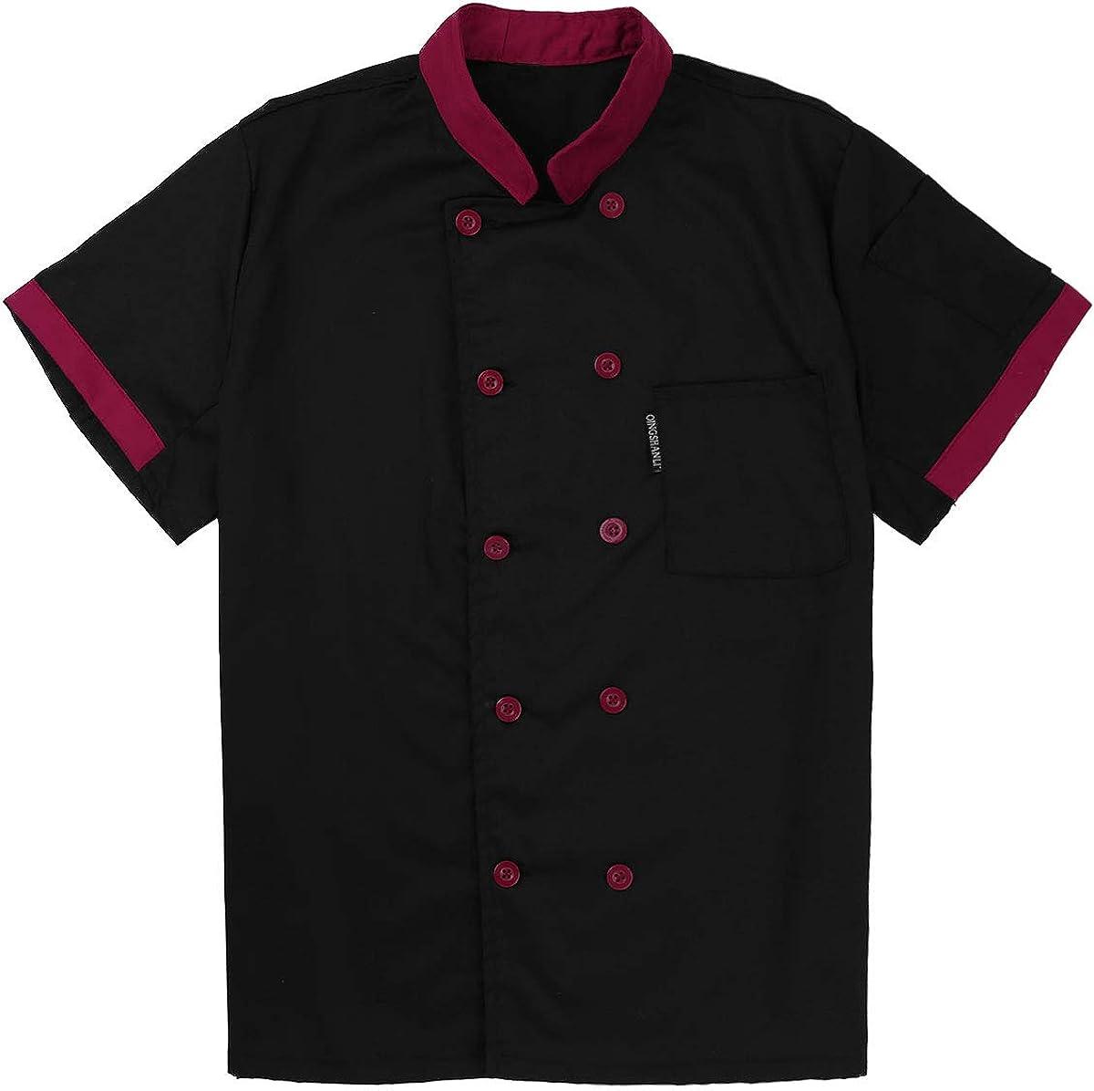 ACSUSS Unisex Men Women Short Sleeve Chef Jacket Coat Cooker Work Restaurant Uniforms