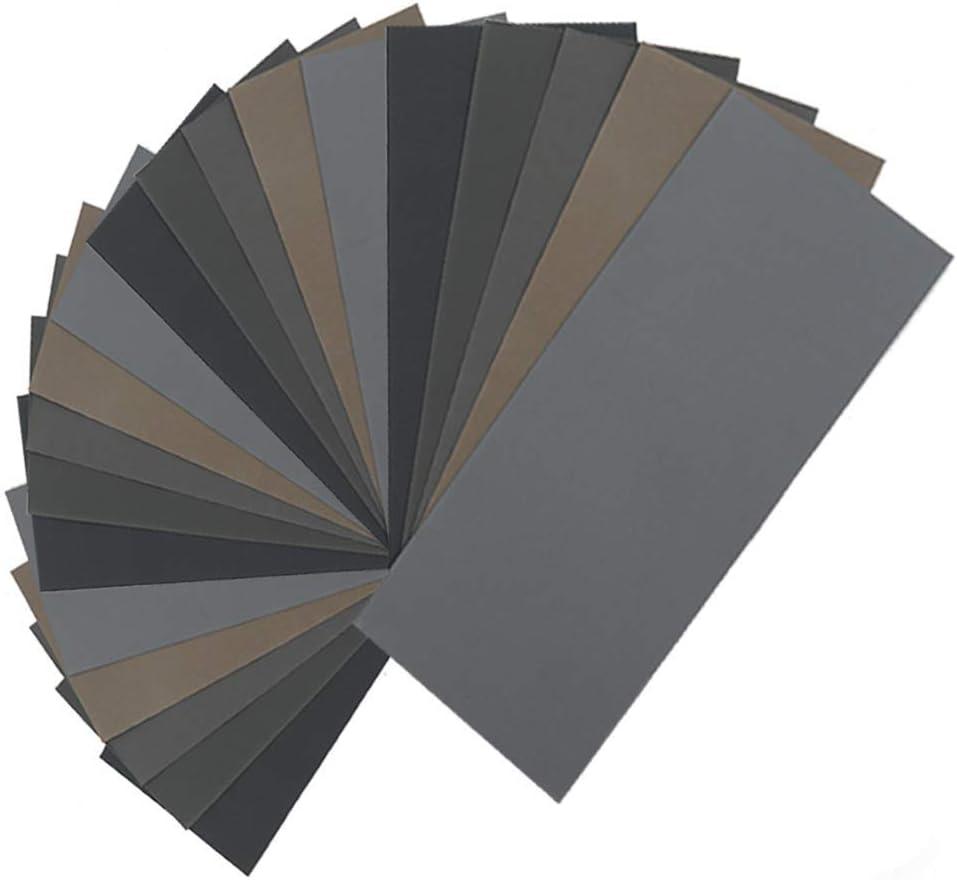 20pcs papier de verre sec humide grain /élev/é 1000//2000//3000//5000//7000 feuilles de papier de verre assortiment pour le polissage des m/étaux en bois Automoti