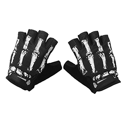 Cycling Gloves Half-Finger Skeleton Bike Motorcycle Gloves Men's/Women's Breathable Mountain Skull Spring Summer Gloves Mittens,White/Green/Pink -
