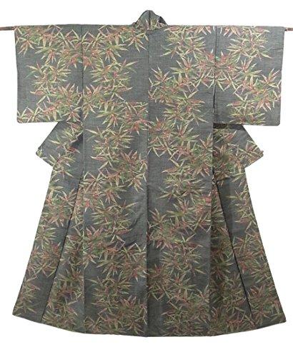 リサイクル 着物 紬 笹模様 正絹 袷 裄65.5cm 身丈157cm