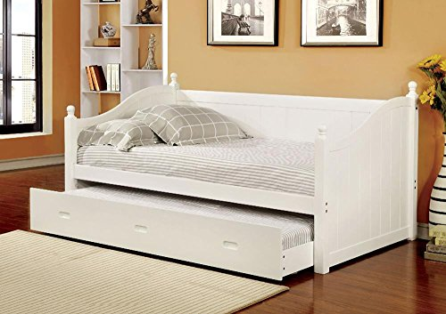 [Battishill Cottage Wood Twin Daybed w/ Twin Trundle - White] (Cottage Futon Frame)