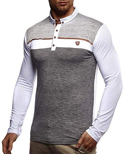 Leif Nelson Herren Sweatshirt Polo-Shirt Slim Fit Baumwolle-Anteil Basic Männer Longsleeve Sommer Pulli weißes Langarmshirt Poloshirt Schwarzer Sweater Pullover T-Shirt Langarm LN4805