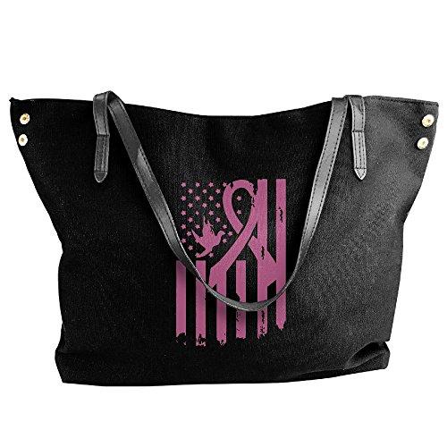 Tote USA Bag Shoulder Hobo Handbag Breast Cancer Canvas Awareness Black Flag Women's Large HTnxqgwEC