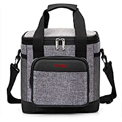UtoteBag Lunch Bag Large Capacity Insulated Cooler Bag Leakproof Adult Lunch Box Bag With Removable Shoulder Strap for Work / School / Office / Picnic,Men Women (Black with Grey)