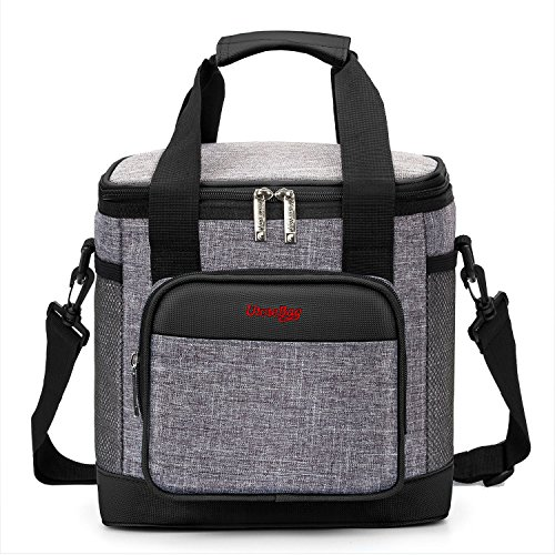 18 Can Cooler (UtoteBag Lunch Box Insulated Lunch Bag Cooler Bag 18 Cans Capacity Leakproof With Removable Strap Multipocket Outdoor For Family Beach Trip Picnic Hiking (Black with Grey))