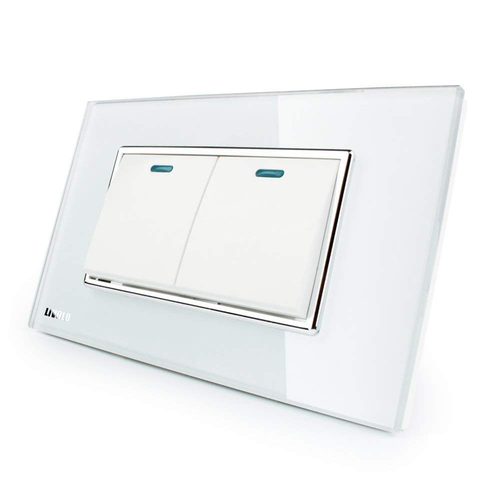 LIVOLO White US/AU Standard 2 Gang 2 Way Push Button Switch With Luxury Tempered Glass Panel,AC110-220V,C3K2S-81