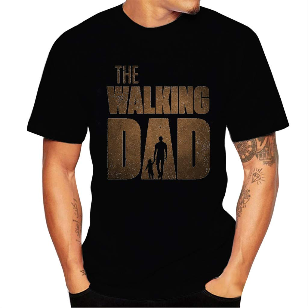 Mens Casual Printed Elastic Short Sleeve The Walking Dad T-Shirts Blouse Tops