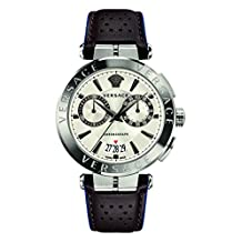 Versace Men's Luxury Aion Chronograph White Dial Leather Calfskin Watch (Model: VBR010017)