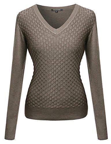 Basic V neck Knit Pullover Khaki XL