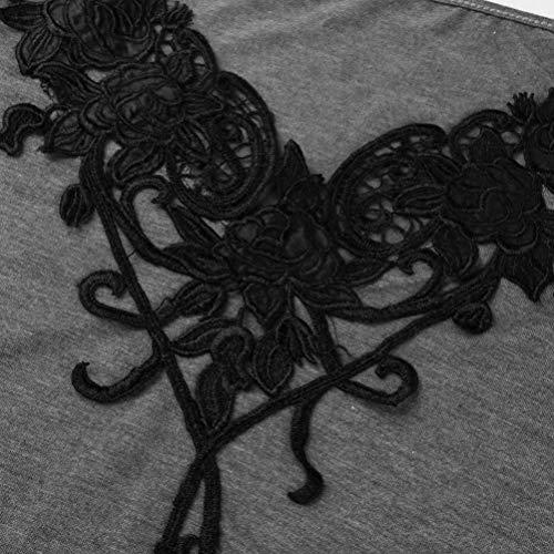 Printemps Tshirts Manches breal paules Grau lgant V Shirt Chic pissure Mode Shirts T Haut BIRAN Casual Nues Cou Branch Longues Femme Creux Irrgulier Dentelle vAYwqSSC