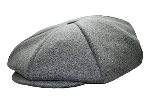 Emstate Mens Melton Wool 8 Panel Applejack Newsboy Cap Made in USA (Heather Grey)