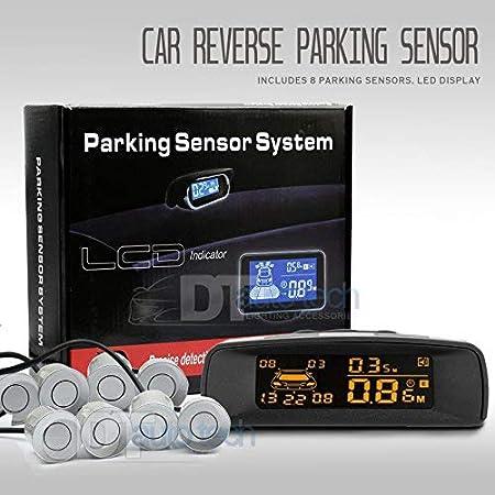Car Parking Sensor Kit Rear Reverse Backup Radar System 8 Sensors with Display Backup Reversing Sensors Universal Auto Radar Detector Sensors Radar Buzzer BiBi Alarm Indicator Silver