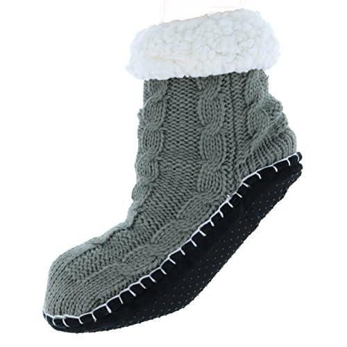 Antonio Women's Plush Classic Cable Knit Slipper Socks for sale