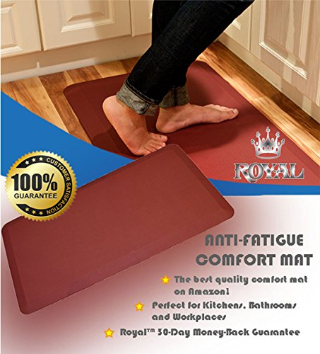 Royal Anti-Fatigue Comfort Mat - 20 in x 39 in x 3/4 in - Ergonomic Multi Surface, Non-Slip - Waterproof All-Purpose Luxurious Comfort - For Kitchen, Bathroom or Workstations - Burgundy