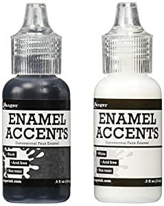 Ranger GAC27355 Inkssentials Enamel Accent, 0.5-Ounce, Black/White, 2-Pack