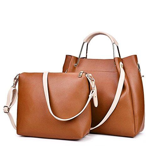 Women's Vintage PU Leather Tote Shoulder Bag Top-handle Crossbody Handbags Ladies' Purse - Online Brands High End Shopping