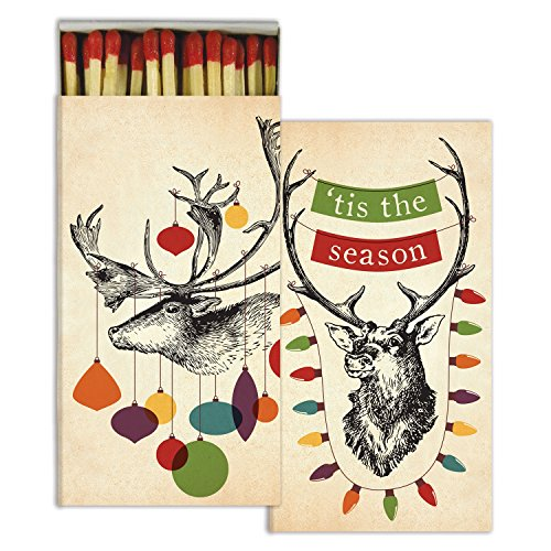 Matches - Decorated Stags (Set of 2) | Perfect Long Wooden Decorative Match Boxes for Candles Kitchens Cigars Grilling