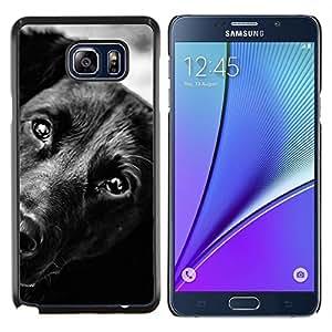 KLONGSHOP // Cubierta de piel con cierre a presión Shell trasero duro de goma Protección Caso - Negro Mutt Mestizo Cara Hocico - Samsung Galaxy Note 5 5th N9200 //