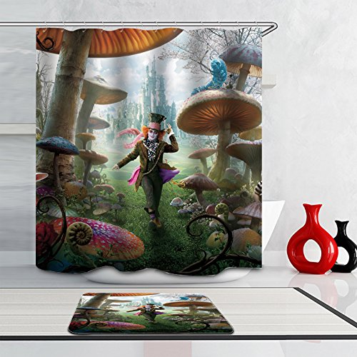 J-SO Halloween Costume For Man Ghost in Mushroom Forest Polyester Fabric Waterproof Mildew Resistant Antibacterial Bathroom Shower Curtain (60
