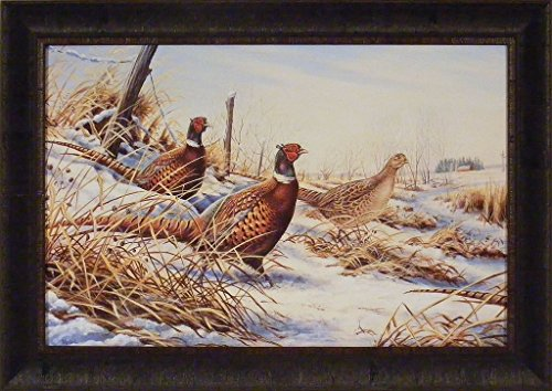 Fenceline Pheasants by Rick Morkel 22x31 1987 Pheasants Forever Ringnecks Roosters Hen Snow Framed Art Print Picture