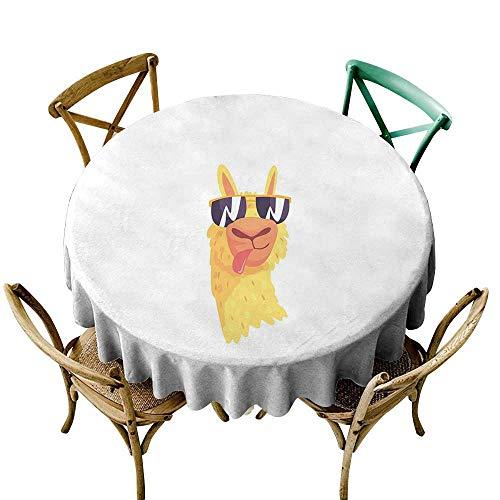 Wendell Joshua Pink Tablecloth 54 inch Llama,Funny Sunglasses Wearing Farm Animal Cartoon Character South American Mascot Design,Multicolor Printed Indoor Outdoor Camping Picnic Circle Table Cloth