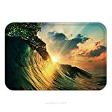 Flannel Microfiber Non-slip Rubber Backing Soft Absorbent Doormat Mat Rug Carpet Rough Colored Ocean Wave Falling Down At Sunset Time 359088182 for Indoor/Outdoor/Bathroom/Kitchen/Workstations