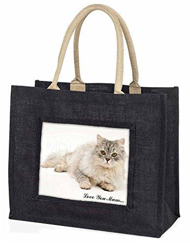 Advanta–Große Einkaufstasche Warnschild Chinchilla Katze Love You Mum Große Einkaufstasche Weihnachtsgeschenk Idee, Jute, schwarz, 42x 34,5x 2cm