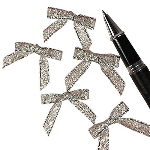 Silver Metallic Lurex Bow Tie, 1-1/8