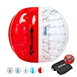 Inflatable Bumper Balls for Adults/Kids, Human Hamster Ball 5 ft /4 ft, Bumper Bubble Soccer Ball W/Ultra Thick PVC (Upgraded Half Red, 5 FT)