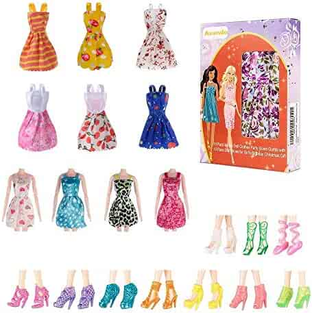 Avando 20PCS Doll Accessories, 10x Mix Cute Dresses 10x Shoes Dresses Gown with Shoes Outfit Set for Xmas Birthday Gift for Barbie Doll