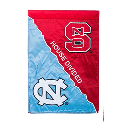 NCAA North Carolina Tar Heels (UNC)/North Carolina State Wolfpack House Divided Garden Flag (Unc Divided House)