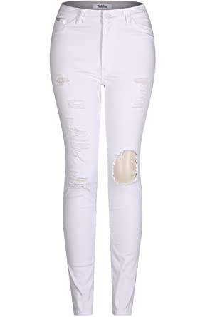 df91a17427f3 2LUV Women's Stretchy 5 Pocket Distressed High Waist Skinny Jeans White 5  at Amazon Women's Jeans store