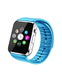 Fantime Smart Watch Bluetooth Wrist Watches Phone Mate SIM TF Camera Pedometer for Android and iPhone( Blue )