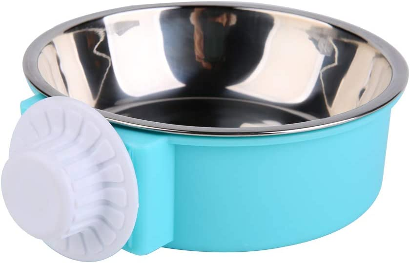 UPSCOOL Crate Dog Bowl, Removable Stainless Steel Hanging Pet Cage Bowl Food & Water Feeder Coop Cup for Cat, Puppy, Birds, Rats, Guinea Pigs,14oz