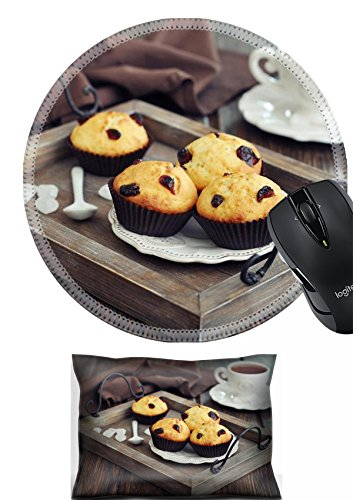 MSD Mouse Wrist Rest and Round Mousepad Set, 2pc Wrist Support design 24750077 Muffins with dried cranberry on vintage wooden tray closeup