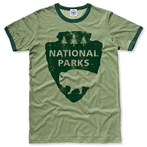 Ringer Heather T-shirt Mens (Hank Player U.S.A.. National Parks Men's Ringer T-Shirt (L, Heather Green))