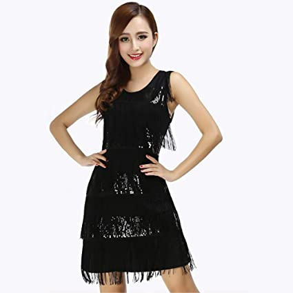 95a43e1e0b7 XHTW B Women s Vest Tassel Sequin Latin Dance Skirt Dresses Flexible Stage  Professional Dance Examination Costumes Elegant