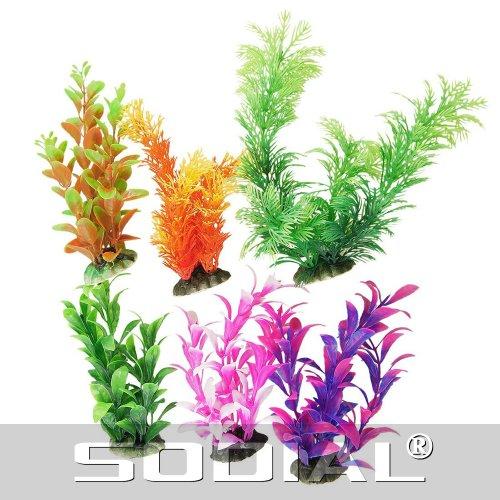 UPC 888309011039, SODIAL(R) 6 Pcs Assorted Color Aquarium Plastic Plants Decoration w Ceramic Base