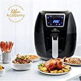 Kitchen Academy Extra Large Air Fryer Power XL 5.8 Quart Airfryer 1700W Oven Oilless Cooker with Hot Air Circulation Tech for Fast Healthier Food, 8 Cooking Presets and Heat Preservation Function - LCD Touch Screen (Recipe Book Included)
