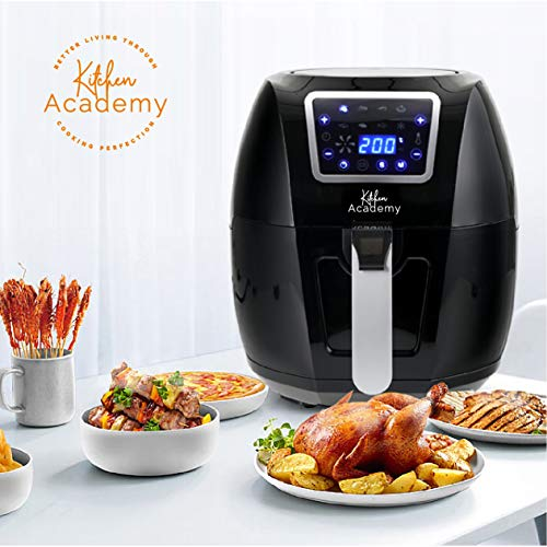 Kitchen Academy Extra Large Air Fryer Power XL 5.8 Quart Airfryer 1700W Oven Oilless Cooker with Hot Air Circulation Tech for Fast Healthier Food, 8 Cooking Presets and Heat Preservation Function – LCD Touch Screen (Recipe Book Included)