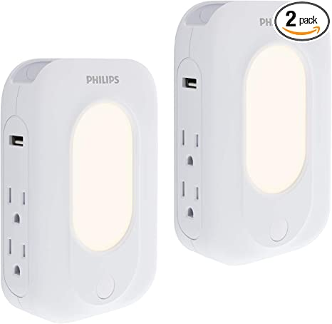 4 Pack Wall Tap Adapter 3 Outlet Surge Protector with 2 Smart USB Charging Ports